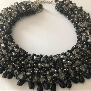 ALDO Black and Crystal Stone Statement Necklace